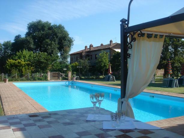piscina esterna attrezzata con sdraio e ombrelloni