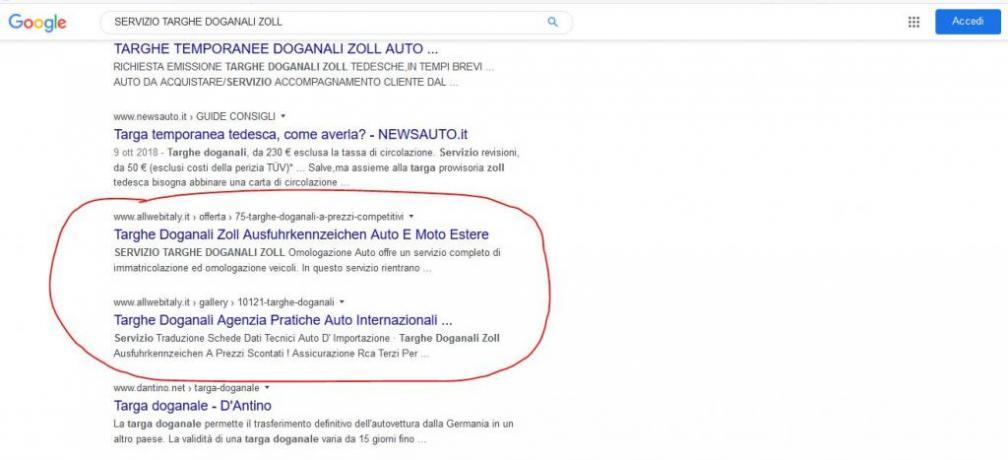 Agenzia Pubblicita seo in Italia: Servizio-Targhe-Zoll