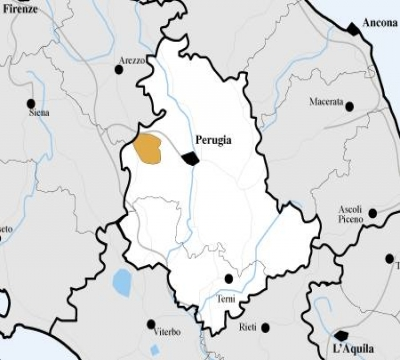 La mappa dell'Umbria