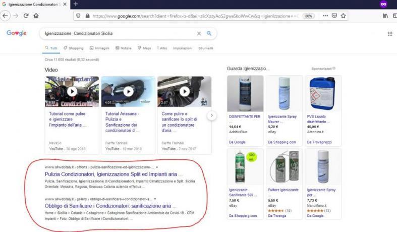 Prima Pagina di Google con Ottimizzazione SEO