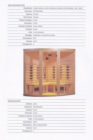 Sauna Infrarossi professionale in legno. Scheda tecnica