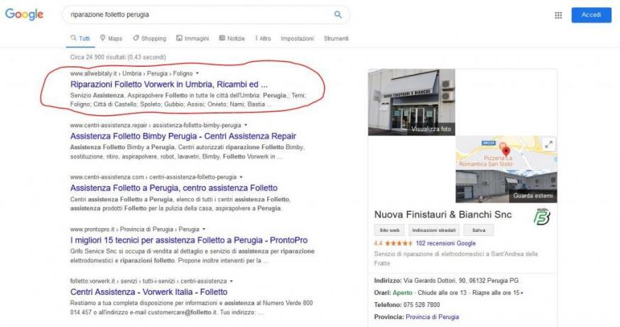 Apparire in Prima-Pagina-Google: Riparazione-Folletto-Perugia