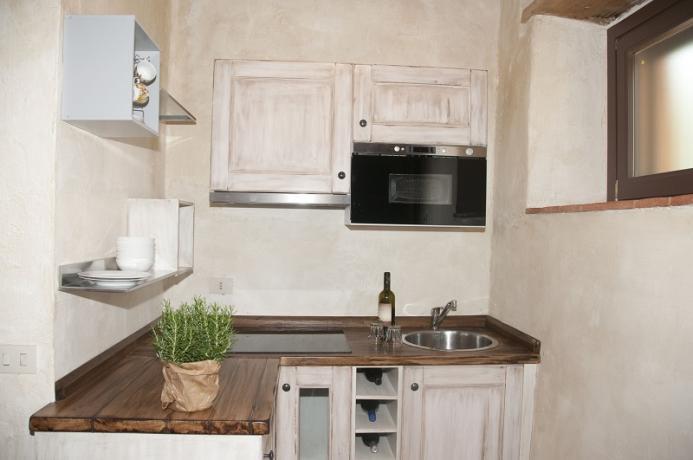 Cucina in appartamento 4 persone, giardino, Toscana