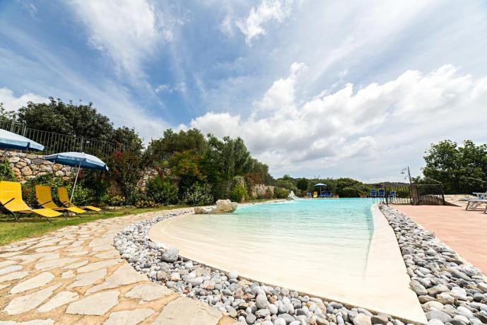 Piscina con lettini e ombrelloni in Hotel4stelle Marina-Camerota