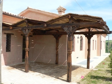 Pergola ingresso tettoia zig zag Forlì
