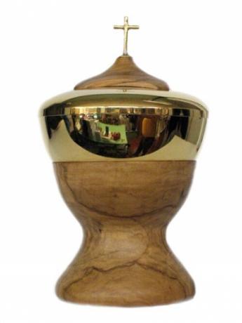 Pisside legno olivo bagno d'oro, prezzi ingrosso