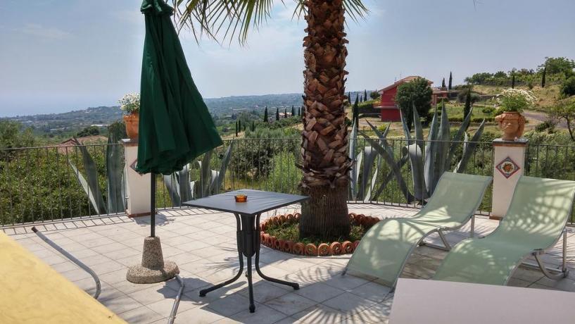 Terrazza solarium panoramica B&B a Santa Venerina