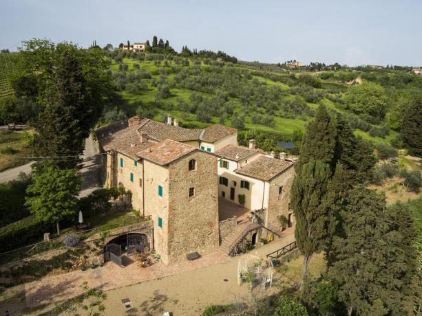 vista dall'alto dell'antico casale La Villa