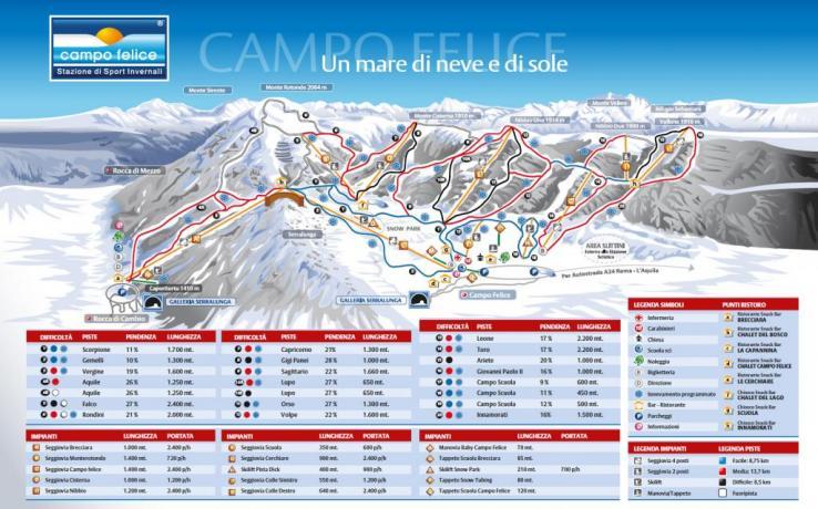 Mappa piste sci campofelice hotel vicino piste
