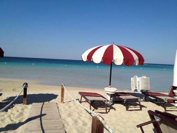 Spiaggia privata Resort le Conchiglie in Puglia