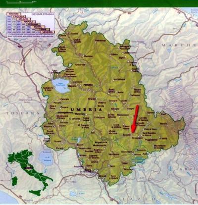 Cartina Umbria con riferimento a Spoleto