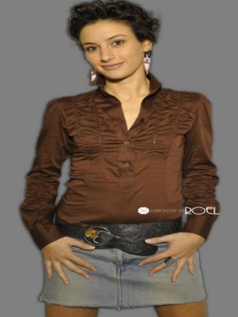 Camicia donna arricciata sul davanti maniche lungh