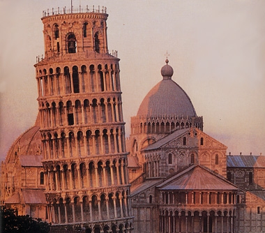 The leaning tower and cathedral