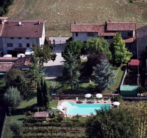 Vista aerea dell'agriturismo in Umbria