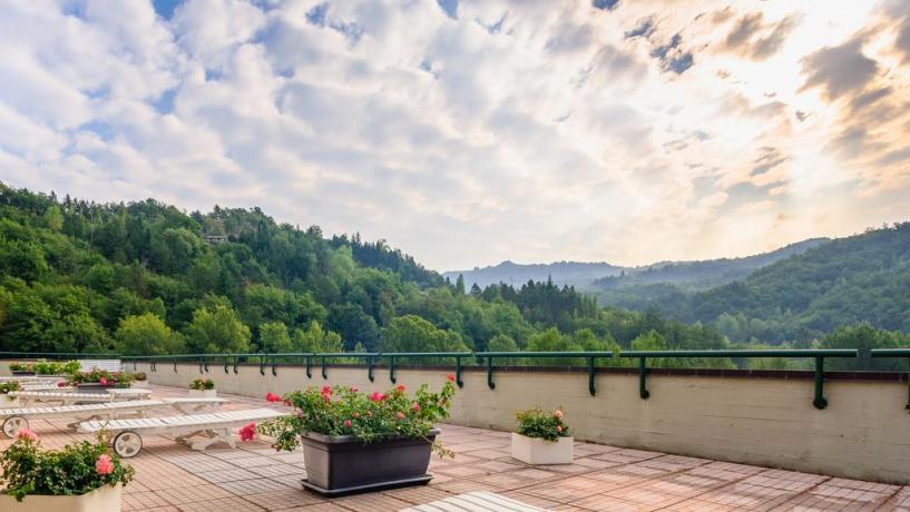 Hotel Porretta Terme + terrazza + vista panoramica