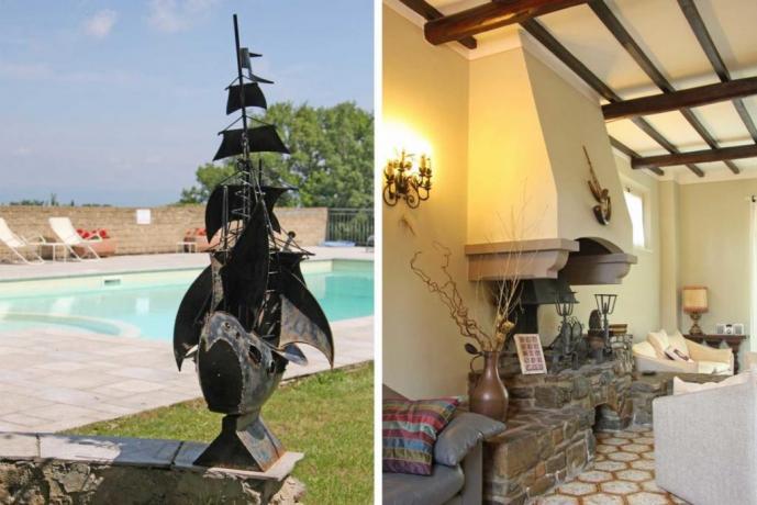 Villa piscina bambini e soggiorno con camino