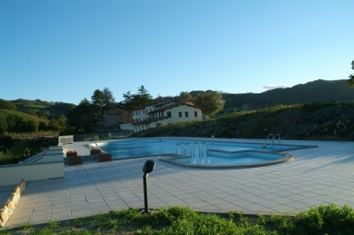 Green areas all around the swimming pool