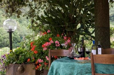 Giardino attrezzato per cene all'aperto