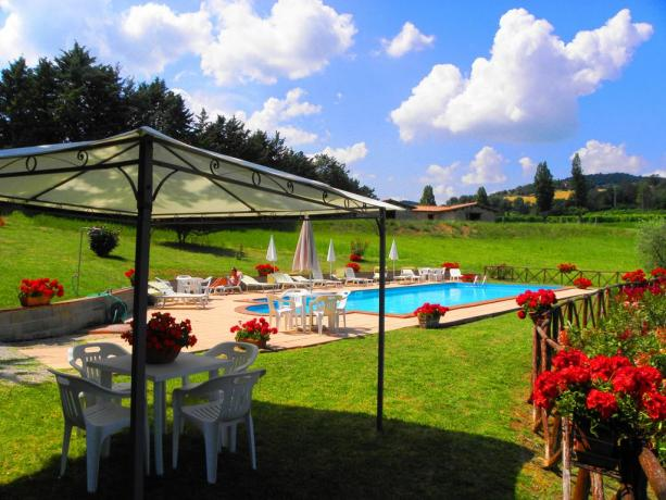 Piscina, Camere e Appartamenti a Gubbio Umbria