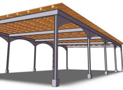 struttura in acciaio e legno pergola