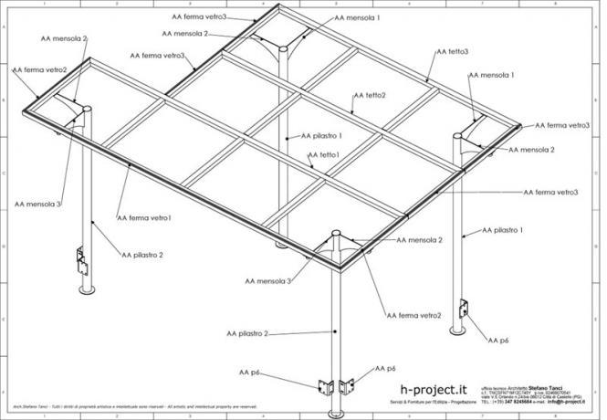 copertura per terrazzo in acciaio e vetro
