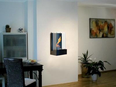 Caminetto ecologico in vetro e legno quadro