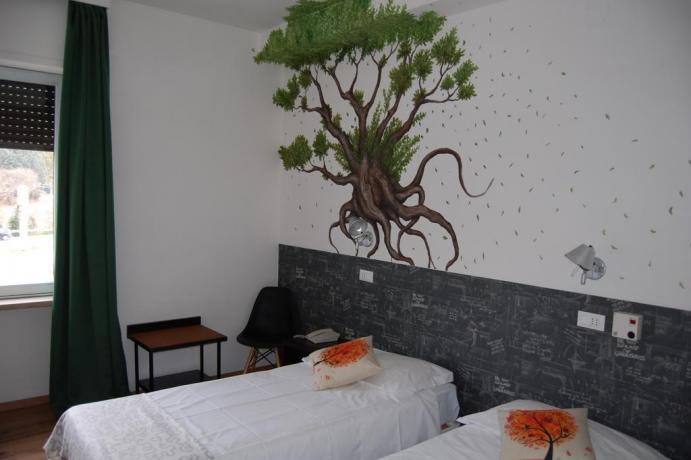Camera doppia con letti singoli in Umbri