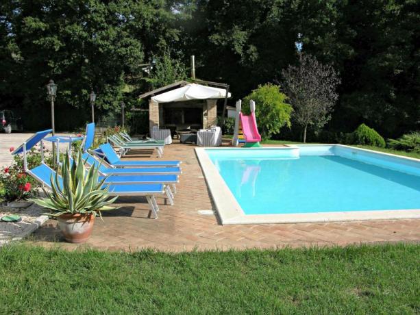Grande piscina ideale per famiglie agriturismo Gualdo Cattaneo