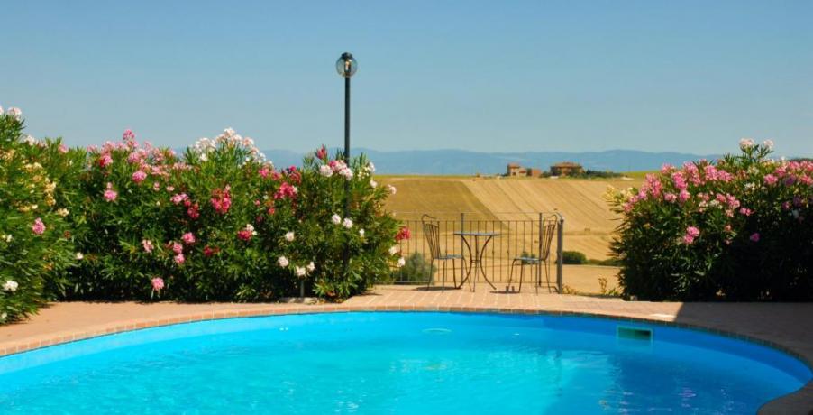 Agriturismo panorama colline del Trasimeno con piscina