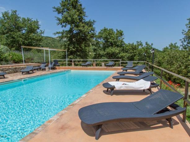 Piscina panoramica e solarium Villa Umbria