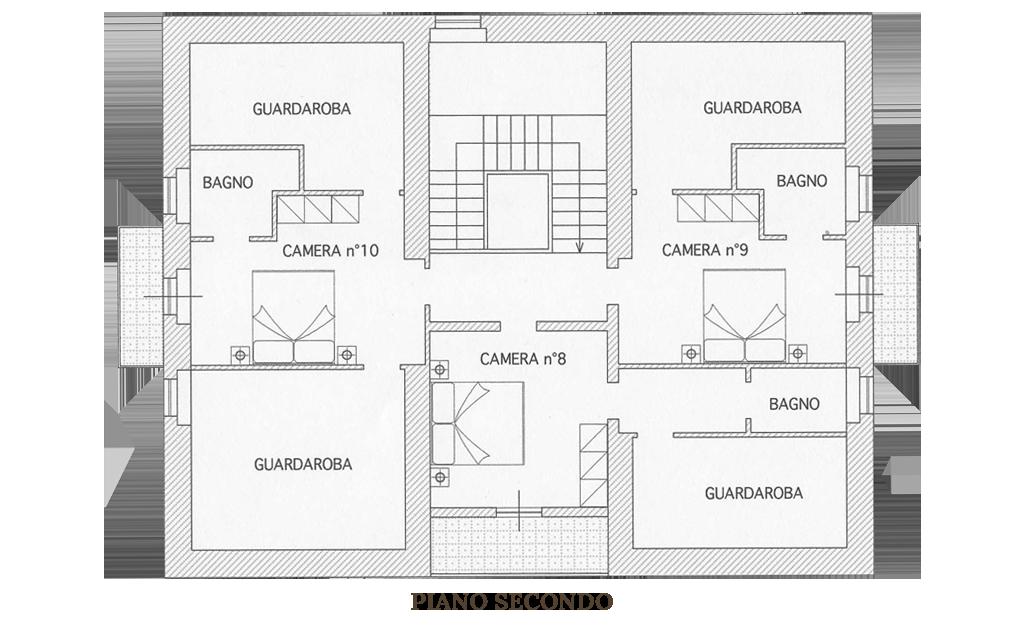 Pianta piano Secondo: Villa Vacanza Marche