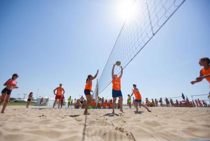 Beach volley su spiaggia privata, campeggio Palinuro