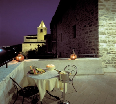 Detail of the terrace by night