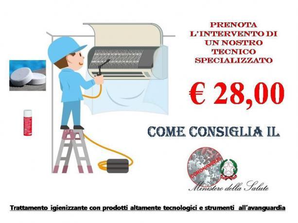 Pulizia, Bonifica Split Condizionatore basso costo, prezzo-28-euro