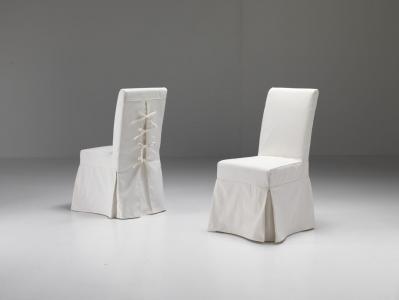 Sedia vestita Nantes con laccetticotone ecru (Sfoderabile)
