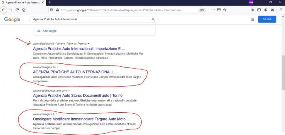 Scalare la SERP di Google: Omologare-pratiche-auto-internazionali
