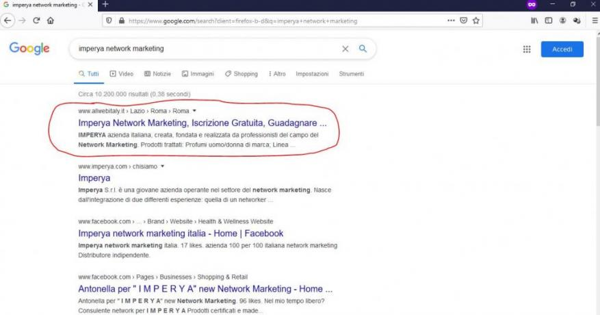 Prima Pagina di Google in 48ore: Imperya-Network-Marketing