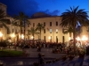 Square by night, where to stay in Cefalu